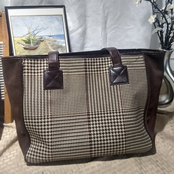 HP🎉 Ralph Lauren Houndstooth   Brown Suede Tote!  M 5b8d91f6409c153b00a1d014. Other Bags ... cfdce57ec8